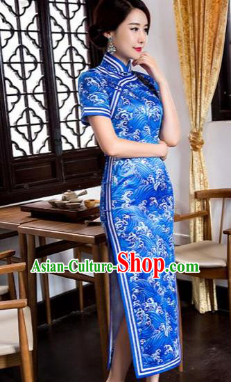 Chinese Traditional Tang Suit Blue Silk Qipao Dress National Costume Printing Mandarin Cheongsam for Women