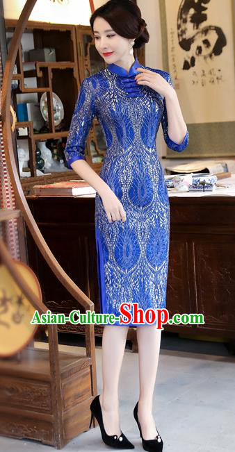 Chinese Traditional Tang Suit Qipao Dress National Costume Royalblue Mandarin Cheongsam for Women