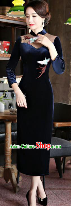Chinese Traditional Tang Suit Embroidered Crane Qipao Dress National Costume Navy Mandarin Cheongsam for Women