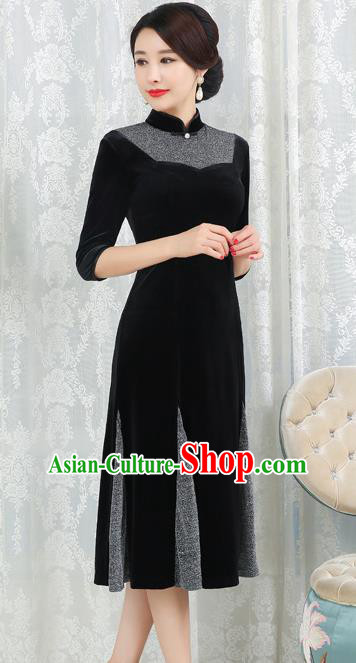 Chinese Traditional Tang Suit Black Velvet Qipao Dress National Costume Top Grade Mandarin Cheongsam for Women