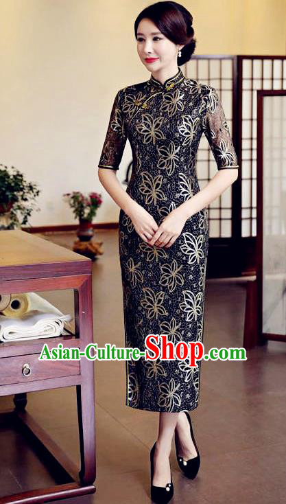 Top Grade Chinese Traditional Black Qipao Dress National Costume Tang Suit Mandarin Cheongsam for Women