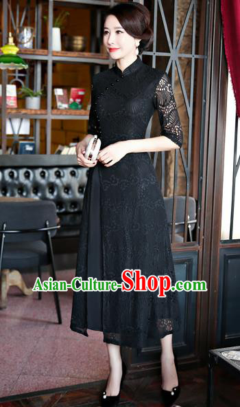 Top Grade Chinese Traditional Black Lace Qipao Dress National Costume Tang Suit Mandarin Cheongsam for Women
