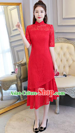 Top Grade Chinese Traditional Red Lace Qipao Dress National Costume Tang Suit Mandarin Cheongsam for Women