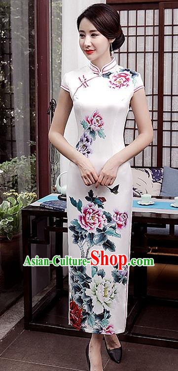 Chinese Traditional Tang Suit Qipao Dress National Costume Printing Flowers White Mandarin Cheongsam for Women