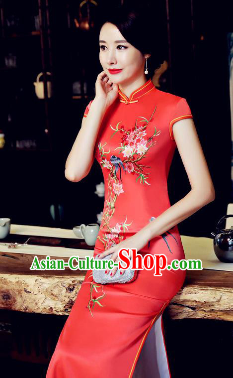 Chinese Traditional Tang Suit Qipao Dress National Costume Printing Birds Red Mandarin Cheongsam for Women