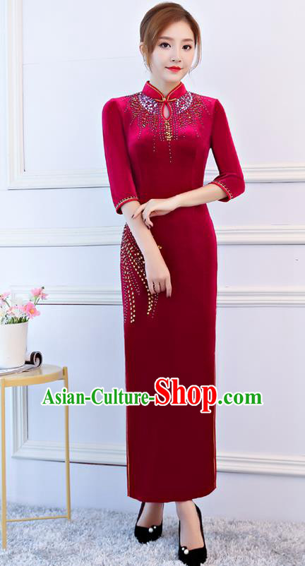 Top Grade Chinese Traditional Red Velvet Qipao Dress National Costume Tang Suit Mandarin Cheongsam for Women