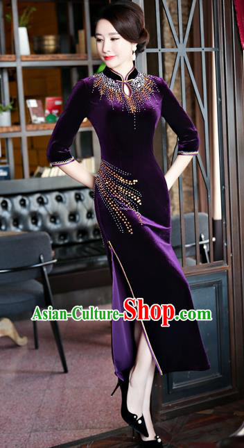 Top Grade Chinese Traditional Purple Velvet Qipao Dress National Costume Tang Suit Mandarin Cheongsam for Women