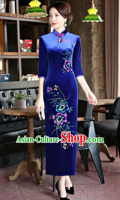 Top Grade Chinese Traditional Blue Velvet Qipao Dress National Costume Tang Suit Mandarin Cheongsam for Women