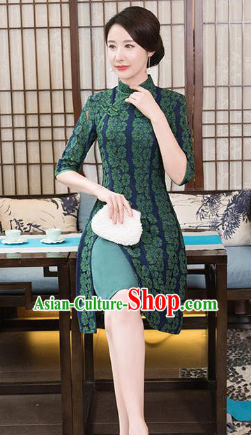 Top Grade Chinese Traditional Qipao Dress National Costume Tang Suit Green Lace Mandarin Cheongsam for Women