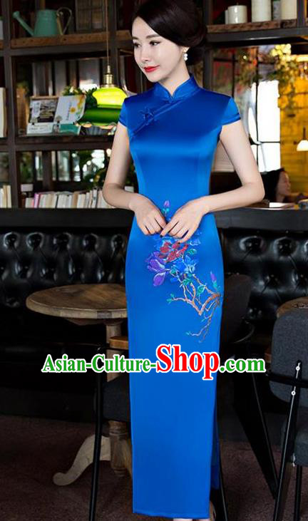 Top Grade Chinese Traditional Printing Orchid Qipao Dress National Costume Blue Silk Mandarin Cheongsam for Women