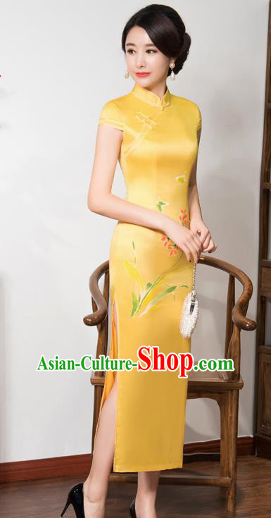 Top Grade Chinese Traditional Printing Orchid Qipao Dress National Costume Yellow Silk Mandarin Cheongsam for Women