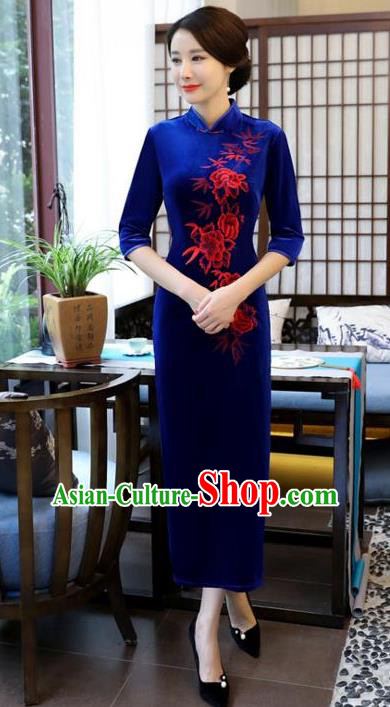 Top Grade Chinese Embroidered Qipao Dress National Costume Traditional Blue Velvet Mandarin Cheongsam for Women