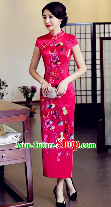 Top Grade Chinese Printing Silk Qipao Dress National Costume Traditional Mandarin Cheongsam for Women