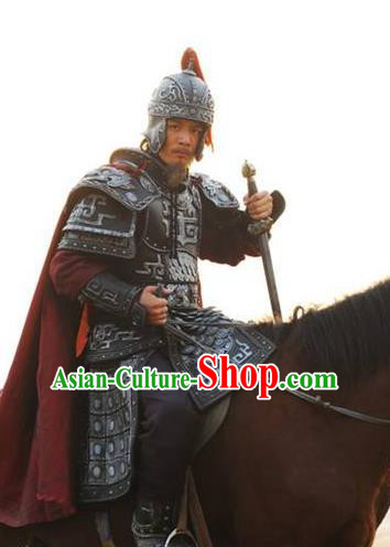 Chinese Ancient Tang Dynasty General Chen Xuanli Replica Costume Helmet and Armour for Men
