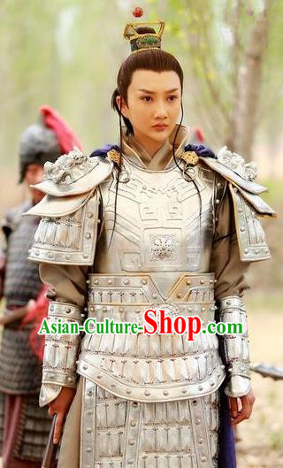 Chinese Ancient Tang Dynasty General Xue Kui Replica Costume Helmet and Armour for Men