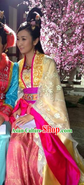 Chinese Ancient Tang Dynasty Imperial Consort Embroidered Hanfu Dress Replica Costume for Women