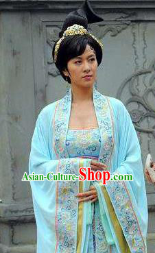 Chinese Ancient Tang Dynasty Dowager Guo Kingdom Yang Yuyao Hanfu Dress Embroidered Replica Costume for Women