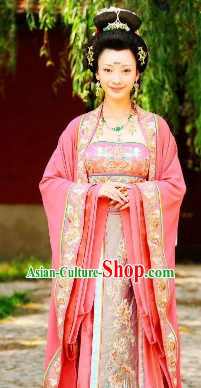 Ancient Chinese Tang Dynasty Imperial Consort Zhang Embroidered Dress Replica Costume for Women