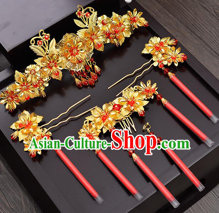 Traditional Chinese Ancient Bride Hair Accessories Xiuhe Suit Hairpins Golden Hair Comb Complete Set for Women