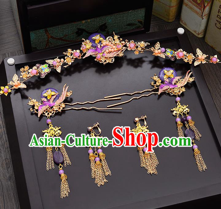 Traditional Chinese Ancient Bride Hair Accessories Xiuhe Suit Purple Phoenix Coronet Hairpins for Women