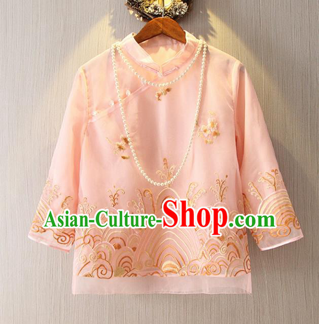 Chinese Traditional National Pink Cheongsam Shirt Tangsuit Stand Collar Embroidered Blouse for Women