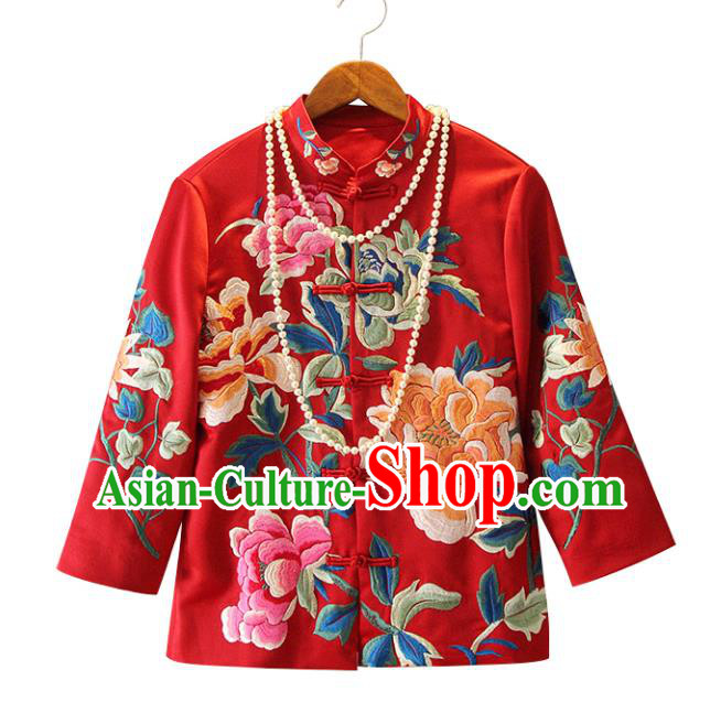 Chinese Traditional National Red Cheongsam Shirt Tangsuit Stand Collar Embroidered Coats for Women