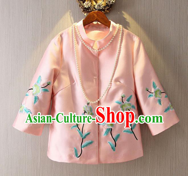 Chinese Traditional National Pink Cheongsam Jacket Tangsuit Embroidered Coats for Women