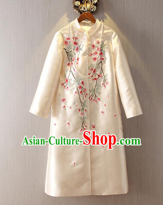 Chinese Traditional National Dust Coat Tangsuit Embroidered White Coats for Women