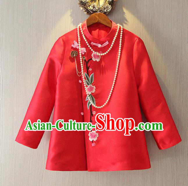 Chinese Traditional National Cheongsam Jacket Tangsuit Embroidered Red Coats for Women