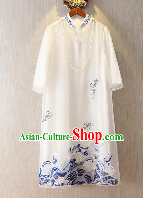 Chinese Traditional National Cheongsam Tangsuit Embroidered White Qipao Dress for Women