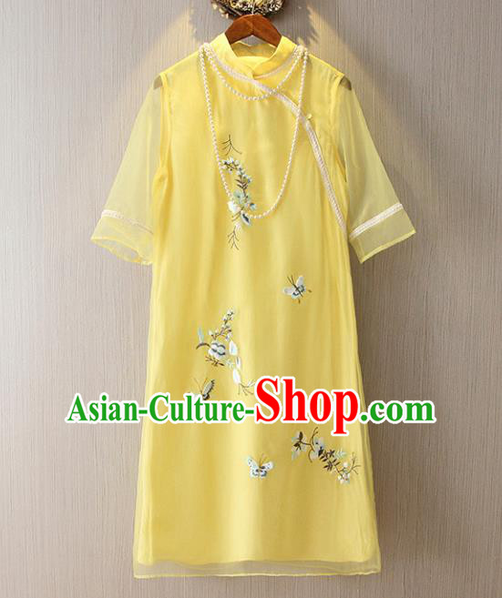 Chinese Traditional National Costume Yellow Cheongsam Tangsuit Embroidered Butterfly Short Dress for Women