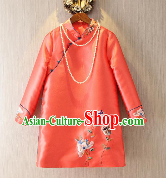 Chinese Traditional National Costume Cheongsam Tangsuit Embroidered Orange Dress for Women