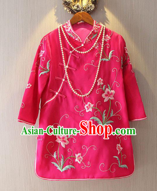 Chinese Traditional National Costume Cheongsam Blouse Tangsuit Embroidered Rosy Qipao Shirts for Women