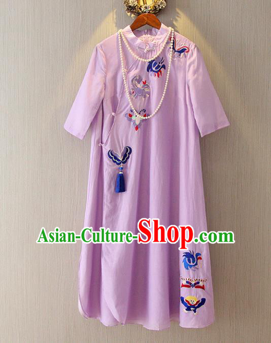 Chinese Traditional National Costume Purple Qipao Tangsuit Embroidered Butterfly Cheongsam Dress for Women