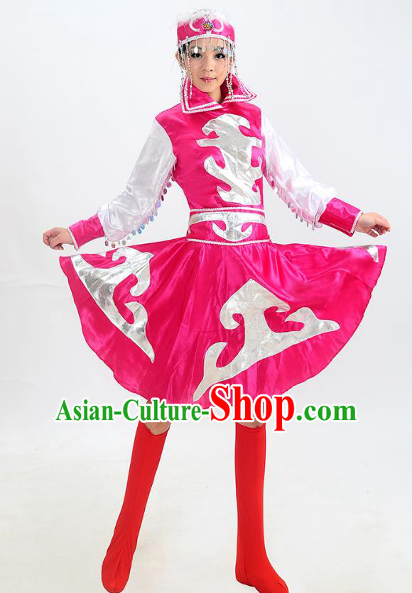 Traditional Chinese Mongol Nationality Dance Costume, Mongols Folk Dance Rosy Dress for Women