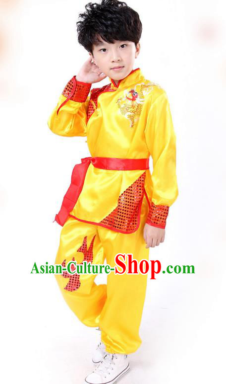 Traditional Chinese Yangge Dance Costume, Folk Dance Lion Dance Yellow Uniform Yangko Clothing for Kids