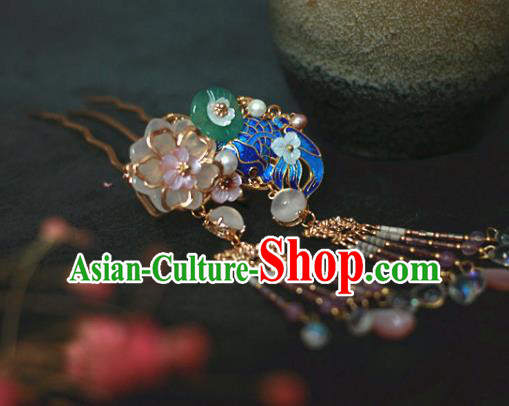 Traditional Chinese Ancient Blueing Lotus Hair Clips Hair Accessories Handmade Hanfu Hairpins for Women