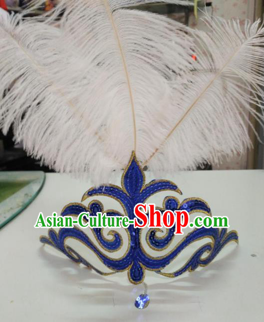 Chinese Classical Dance Blue Hair Accessories Traditional Folk Dance Yanko Dance White Feather Headwear for Women