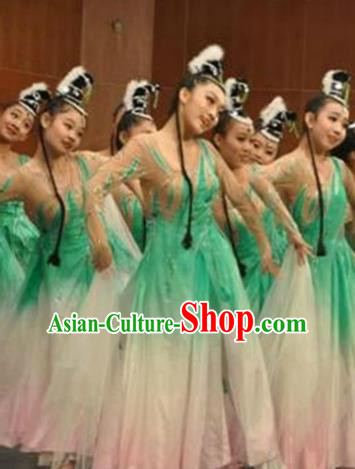 Traditional Chinese Classical Dance Green Dress Fan Dance Costume, Folk Dance Yangko Uniform for Women
