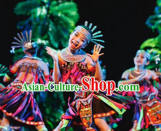 Traditional Chinese Folk Dance Minority Costume, Children Classical Dance Dress Clothing for Kids