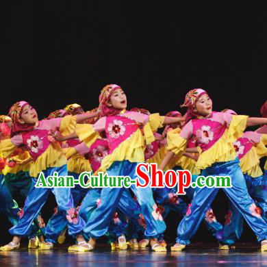 Traditional Chinese Folk Dance Costume, Children Classical Dance Yangge Clothing for Kids