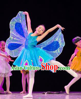 Traditional Chinese Yangko Folk Dance Costume, Children Classical Butterfly Dance Yangge Clothing for Kids