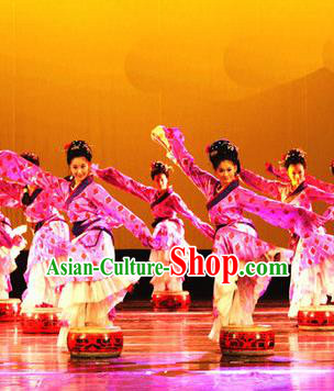 Chinese Traditional Folk Dance Costume, Classical Dance Dress Ancient Dance Stage Performance Clothing for Women