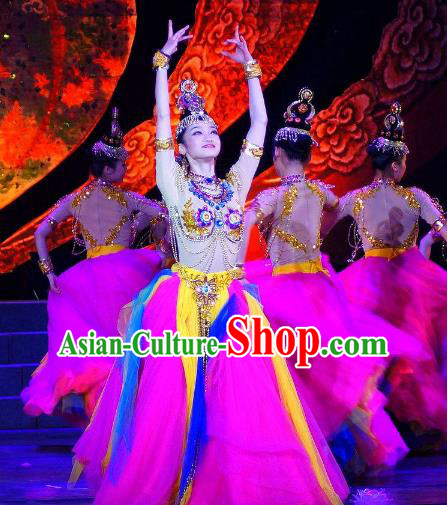 Chinese Traditional Folk Dance Classical Dance Costume, China Stage Performance Dance Clothing for Women
