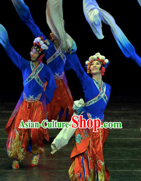 Chinese Traditional Folk Dance Costume Classical Dance Water Sleeve Dress, China Stage Performance Clothing for Women
