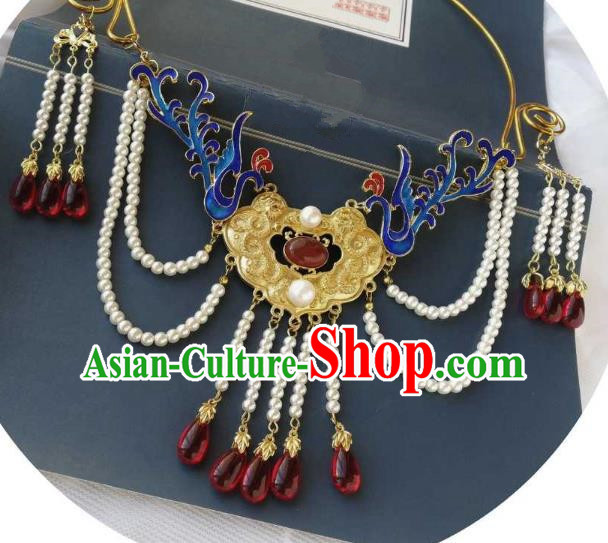 Chinese Traditional Ancient Accessories Classical Blueing Necklace Hanfu Handmade Necklet for Women