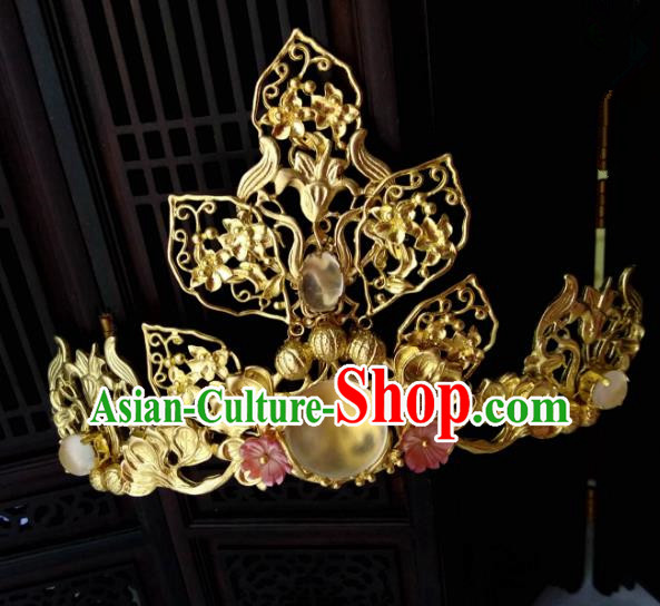 Chinese Traditional Ancient Hair Accessories Classical Brass Phoenix Coronet Hairpins Hanfu Hair Stick for Women