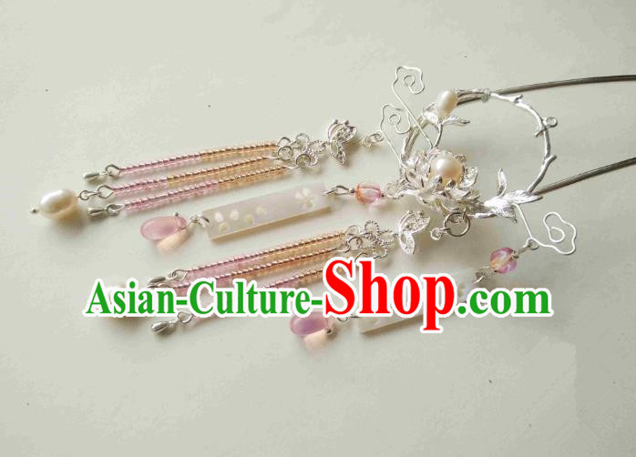 Chinese Traditional Ancient Hair Accessories Classical Pink Beads Tassel Hair Clip Hanfu Hairpins for Women