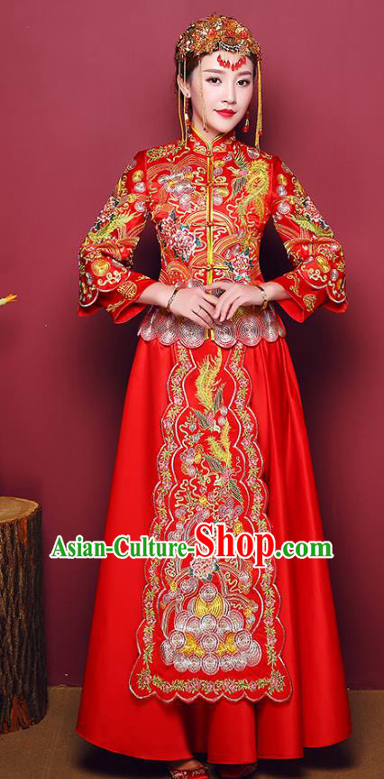 Chinese Traditional Wedding Dress Costume Bottom Drawer, China Ancient Bride Embroidered Phoenix Xiuhe Suits for Women