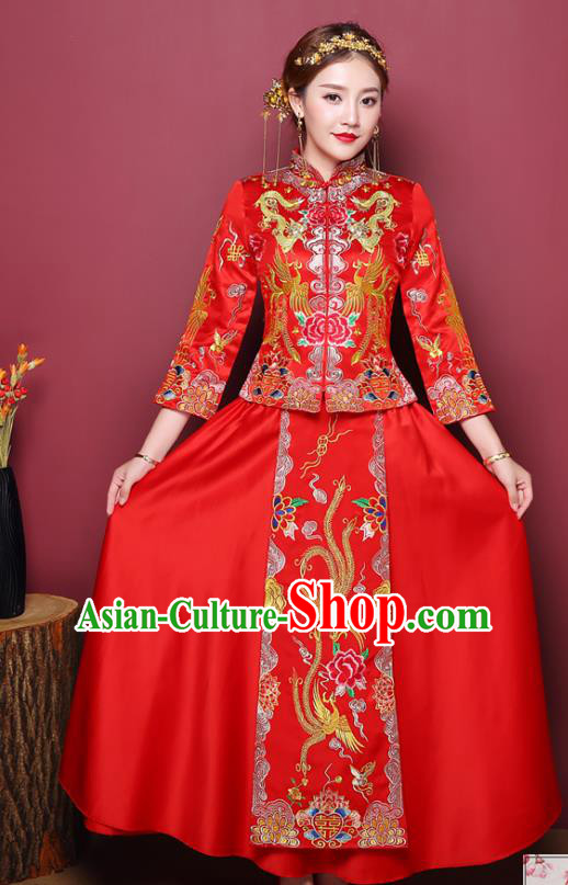 Chinese Ancient Wedding Costume Traditional Bottom Drawer, China Ancient Bride Embroidered Phoenix Xiuhe Suits for Women